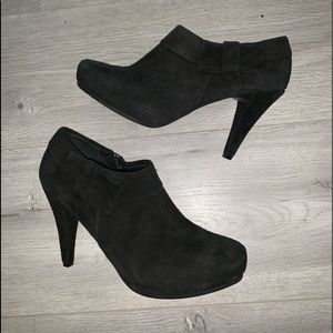 New genuine suede booties with a bow